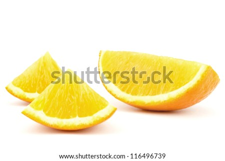 three pieces of orange isolated on white