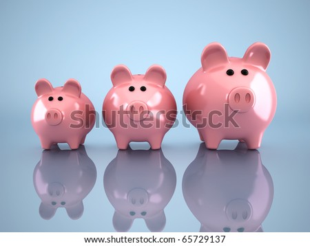 Three piggy bank - this is a 3d render illustration