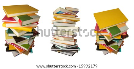 three piles of color books on the isolated background