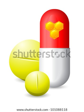 three pills and honeycomb images on one of them