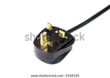 Three pin British mains plug with safety standard lettering isolated against a white background