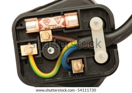 Three pin plug showing the wiring terminals