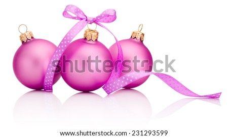 Three pink Christmas ball with ribbon bow Isolated on white background #231293599