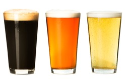 Three pints of craft beer isolated on white background