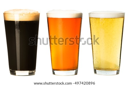 Three pints of craft beer stout ale pilsner lager isolated on white background Stock fotó ©