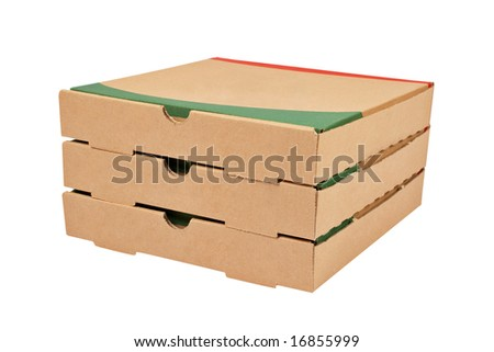 Three pizzas cardboard boxes isolated on white background