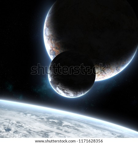 Three planets orbiting each other in deep space cosmos web with bright atmosphere and glow with andromeda galaxy on the background. Science fiction image. Elements of this image furnished by NASA