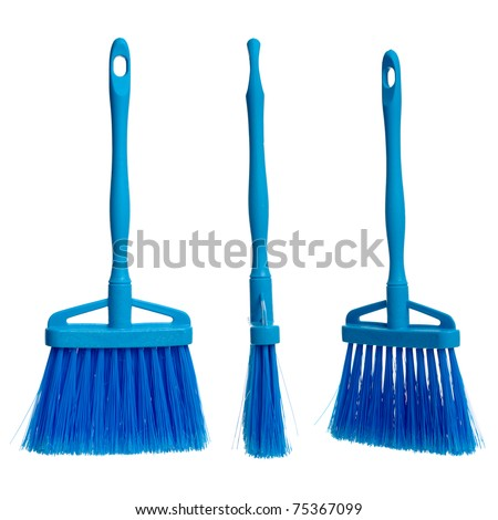 Three plastic blue brooms  isolated on white background.
