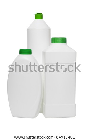 Three plastic bottles for household cleaning products on white background