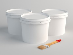 Three plastic bucket and brush on floor. 3D Render