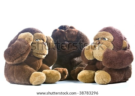 Three plush gorillas representing the proverb of the wise monkeys