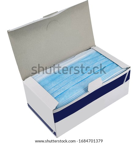 Three ply surgical mask in box, isolated in white background