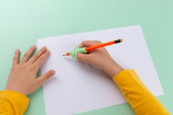 Three point fingers pen holding practice, preschooler boy writing homework, handwriting correction tool, writing training, children education