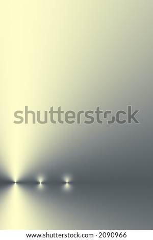 Three points of light in a horizontal line on a silver grey and pale yellow gradient background. - stock photo