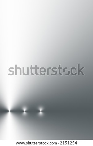 Three points of light in a horizontal line on a silver grey and white gradient background.