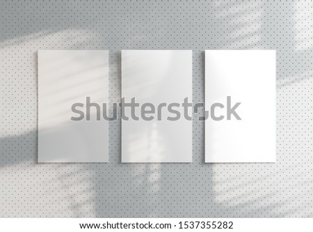 Three polaroids mockup with shadow on modern stylish pattern background. 3D render.