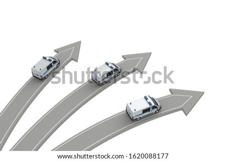 three police go in different directions isolated on white above view. 3d rendering