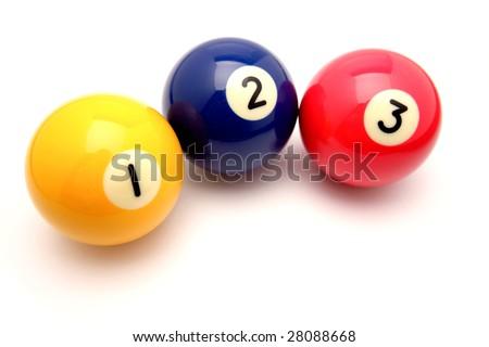 Three pool balls isolated on white