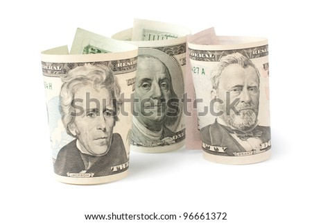 three portraits of U.S. presidents on dollar bills isolated on white