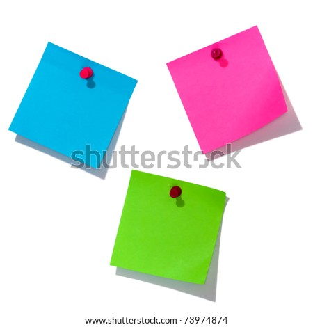three post-it notes over white background