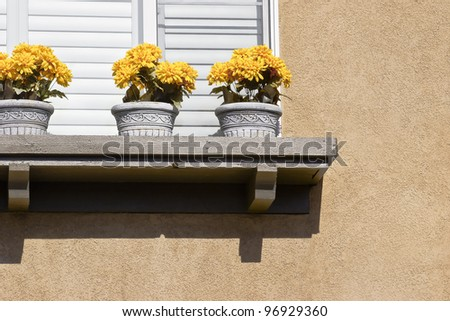 Three pots with flowers sit on a window ledge.