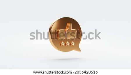 Three premium quality gold star rate icon symbol or customer review experience business service excellent feedback on best rating satisfaction background with flat design ranking sign. 3D rendering.
