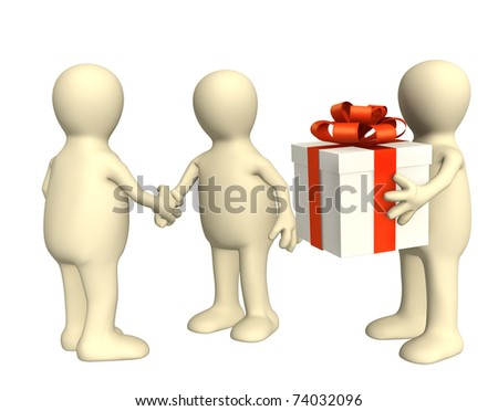 Three puppets with gift. Isolated over white