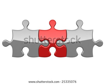 Three puzzles on white background symbolizing consolidation with leader - stock photo