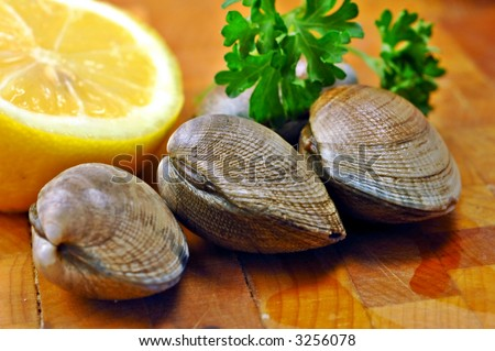 Three raw clams ready for steaming on a kitchen cutting board with lemon and parsley