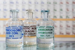 Three reagent bottles containing hydrochloric acid, ammonium hydroxide, and acetic acid.