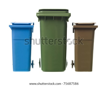Three Recycling Bins isolated on white background