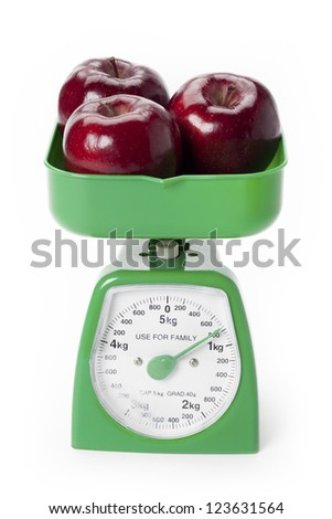Three red apples weighed on a green scale.