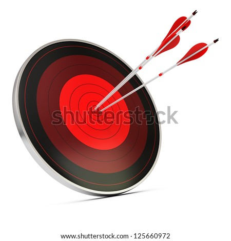 Three red arrows hitting the center of a red target or dart, white background, concept of achieving objectives