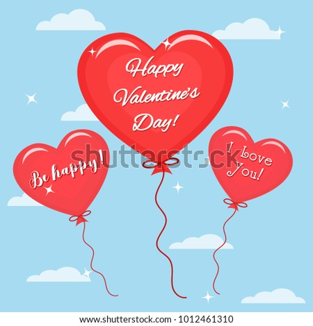 Three red balloon with the text of congratulations on Valentine's Day flies in the sky. , flat style. #1012461310