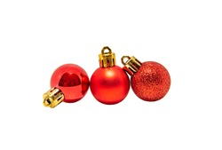 Three red christmas ball for decoration, isolated on white background with clipping path.