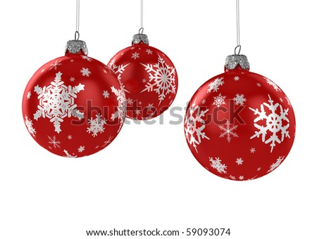 Three red Christmas ornaments hanging over white background with clipping path