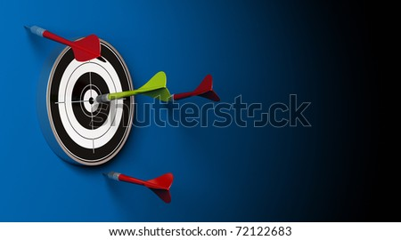 three red darts failed to hit the center of the target and a green dart made the perfect shot image over a blue background