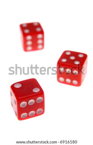 Three red dice isolated over white