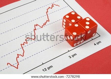 three red dice over a stock market graph