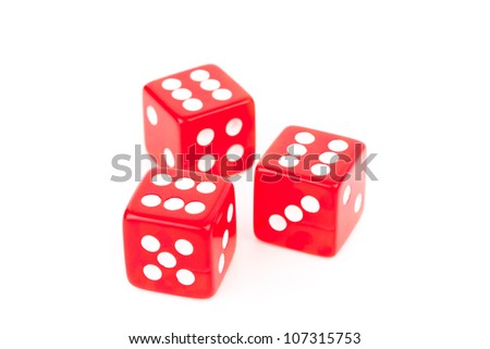 Three red dices against a white background #107315753