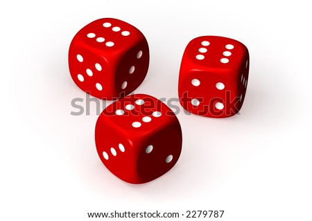 Three red dices isolated over a white background. This is a 3D rendered picture. #2279787
