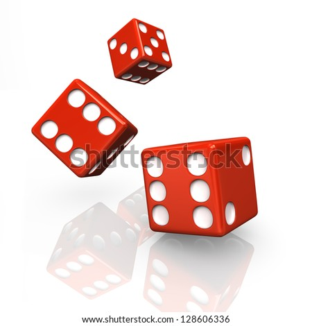 Three red dices on the white background. 3d illustration. - stock photo