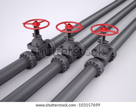 Three red oil valves on white background