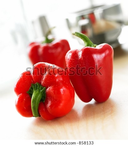 Three Red Peppers in the Kitchen