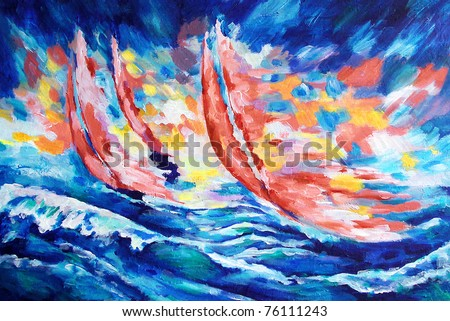 three red sails against the sky and the sea and the coming sun drawn by oil color on canvas