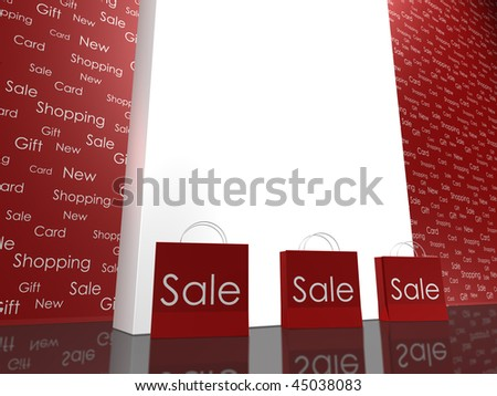 Three Red Shopping Bags on Red Background