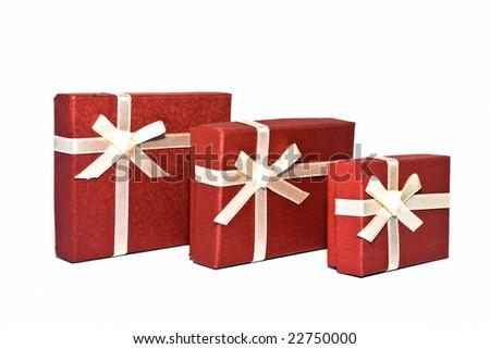 Three red souvenir boxes white background isolate.