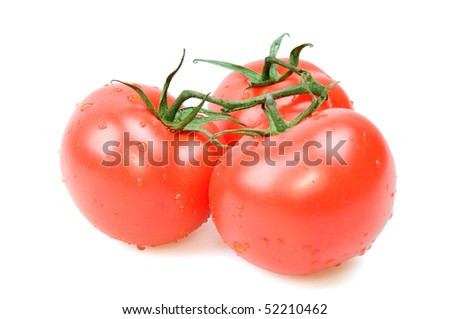 Three red tomato isolated on white background.