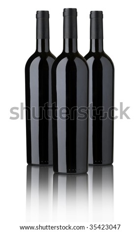 THREE RED WINE BOTTLES FOR  LABEL DESIGN