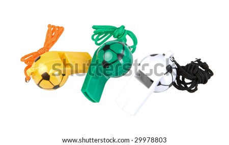 Three referee whistle isolated on white. Clipping paths